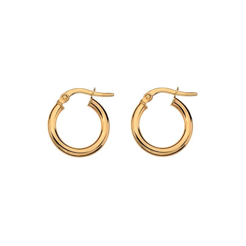 Small yellow gold round wire hoop earrings
