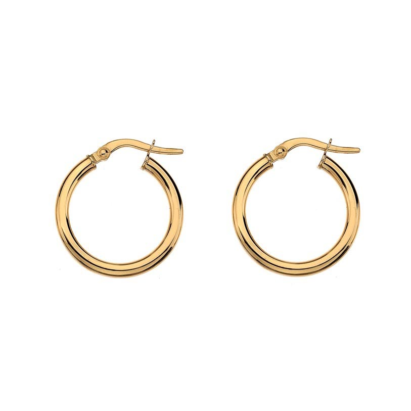 Medium yellow gold wire hoop earrings
