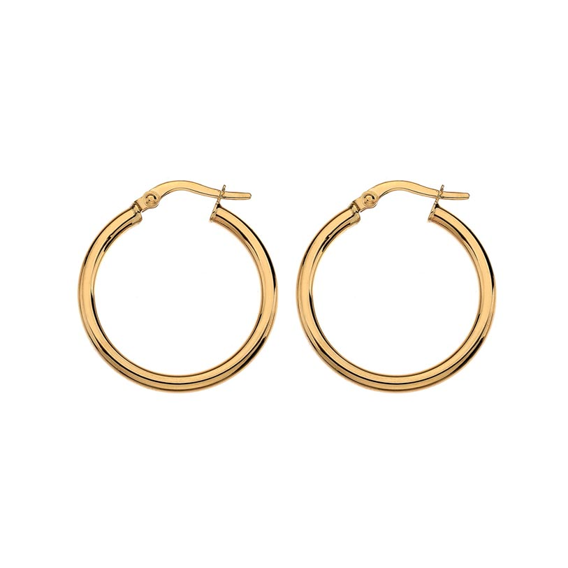 LARGE YELLOW GOLD ROUND WIRE HOOP EARRINGS