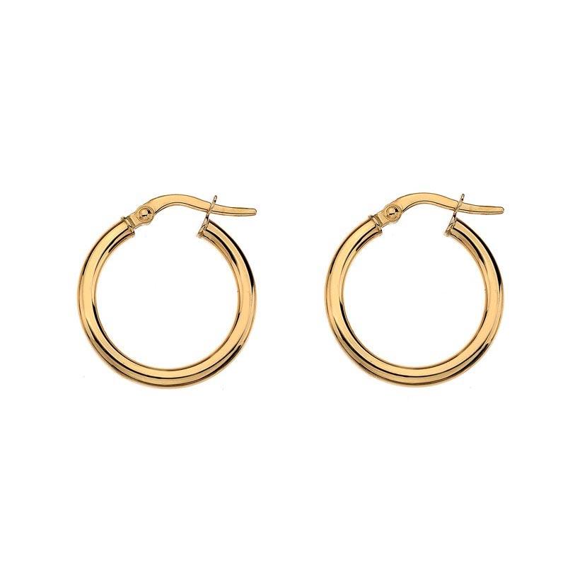 Medium round wire sleeper hoop earrings