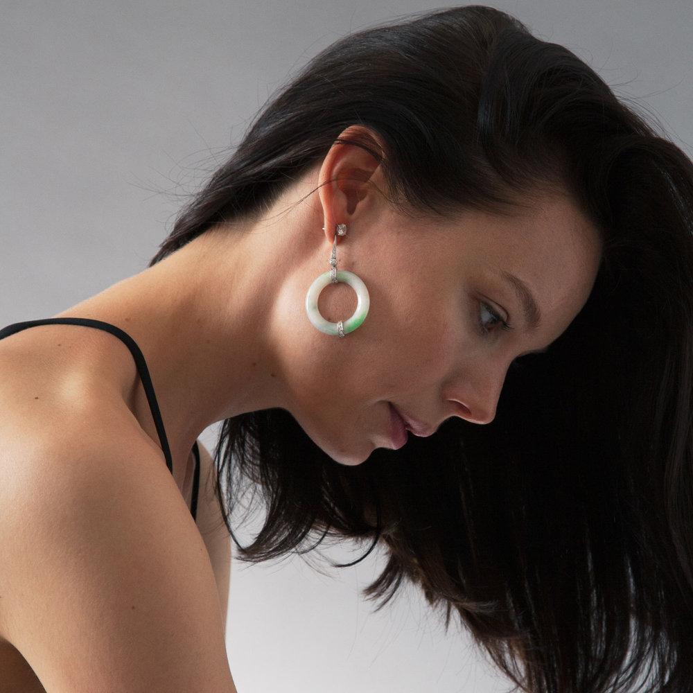 Jade disc drop earrings model shot 2