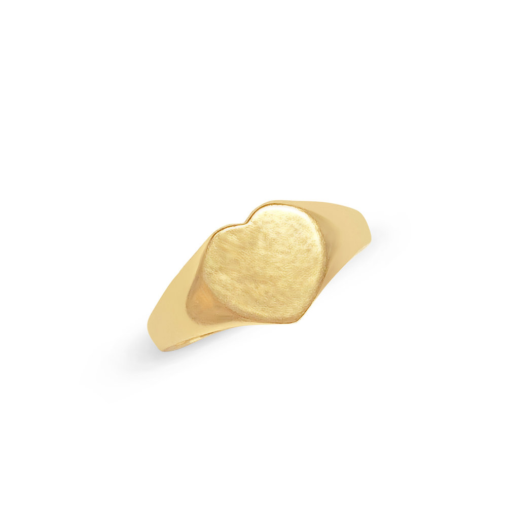 Vintage gold heart-shaped signet ring top view