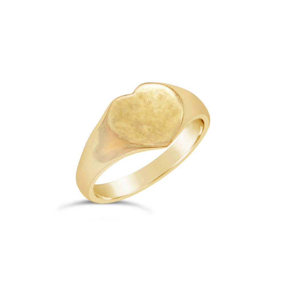 Vintage gold hear-shaped signet ring