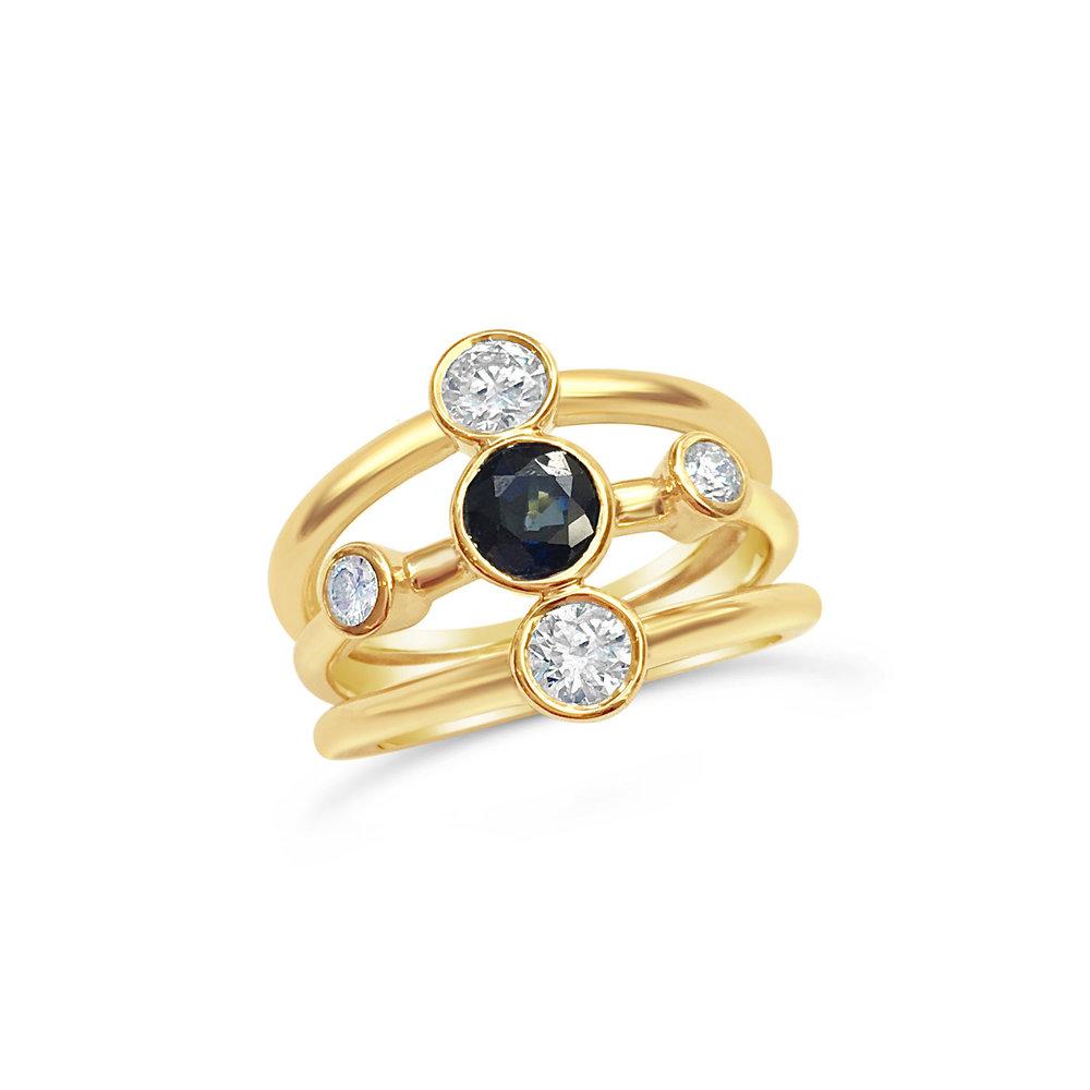 Bespoke sapphire and diamond rub over set five stone ring
