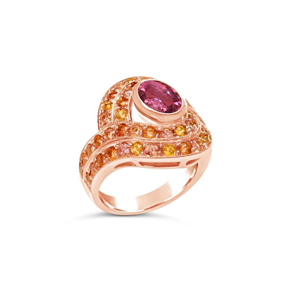Multicoloured sapphire bombé target ring
