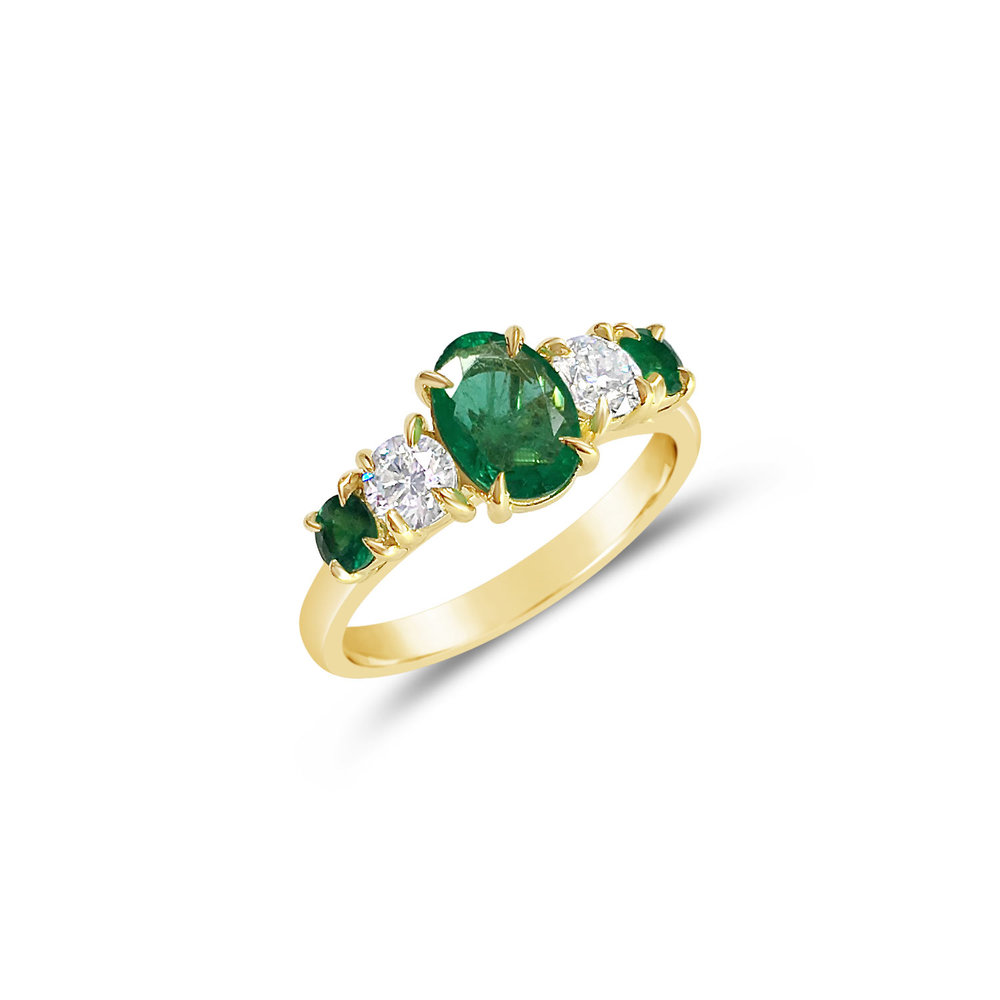 Bespoke emerald and diamond claw-set five-stone ring, mounted in 18ct yellow gold.