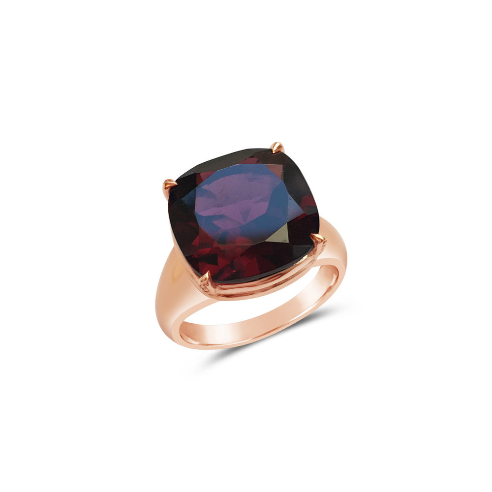 Bespoke cushion-shaped rhodolite garnet claw-set ring, mounted in 18ct rose gold top