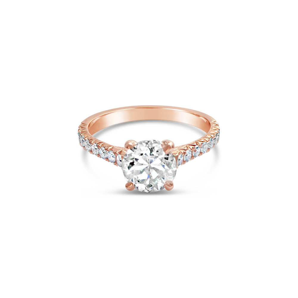 Bespoke diamond solitaire ring with four talon-shaped claws and diamond  fishtail half-set band, mounted in 18ct rose gold side