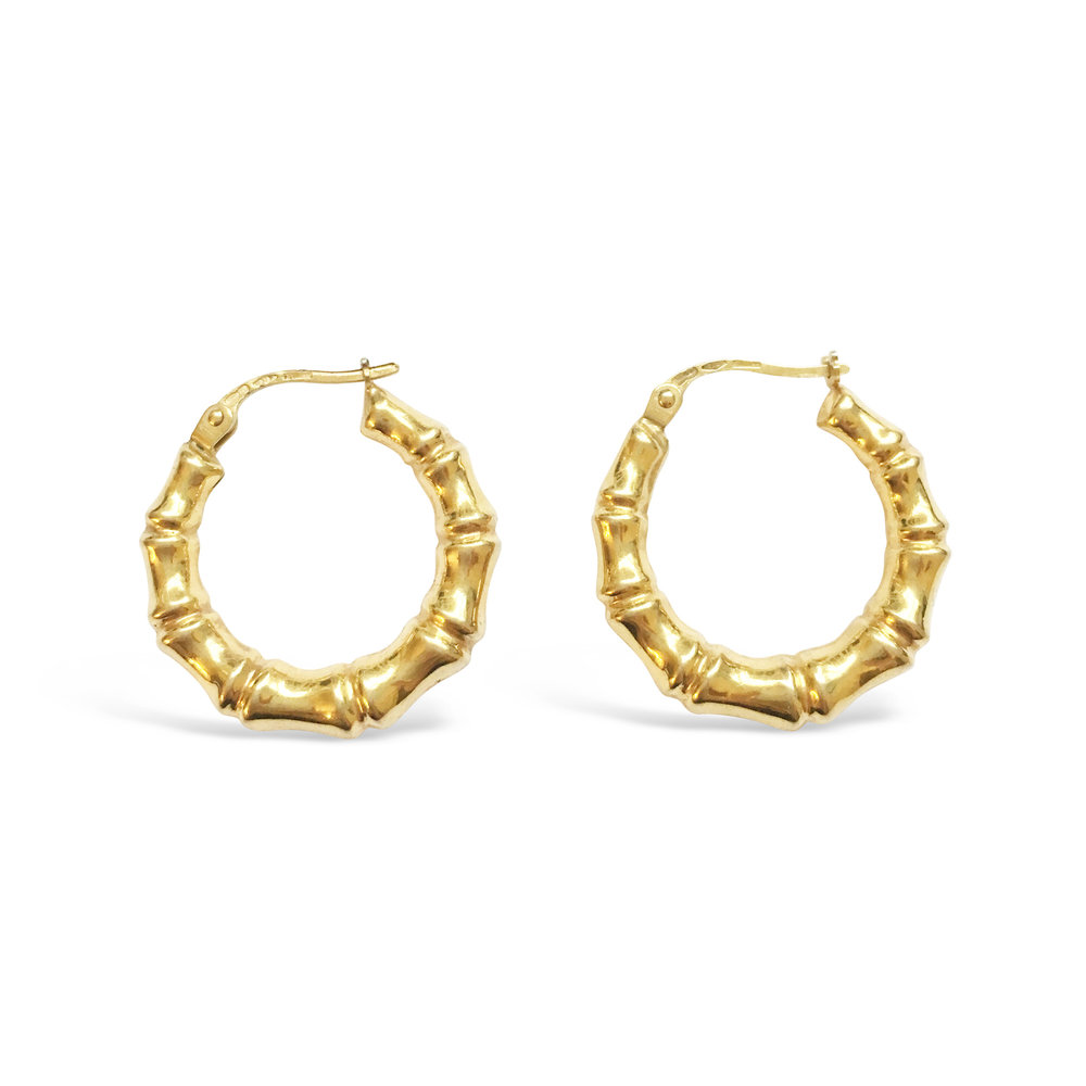 Vintage Yellow Gold Bamboo Hoop Earrings