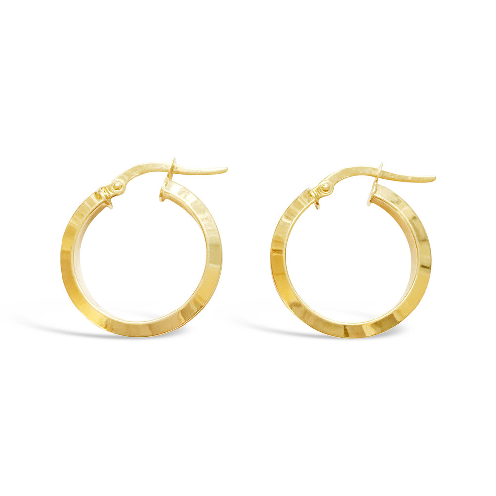 PAIR OF VINTAGE 9CT YELLOW GOLD SQUARE HOOP EARRINGS. Hoop diameter measuring 20mm.