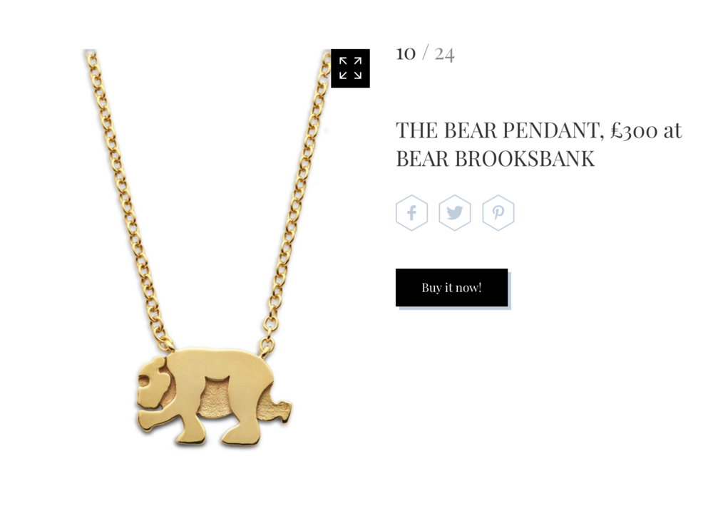 The Bear Pendant in Marie Claire Online