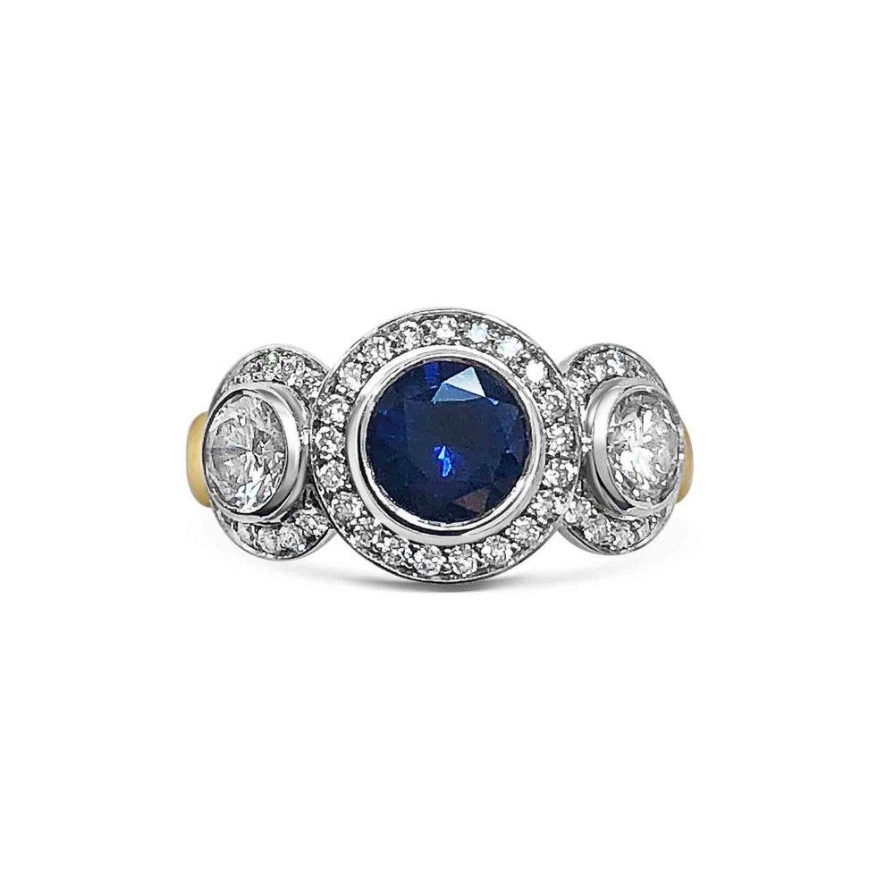 Sapphire & diamond three-stone ring front