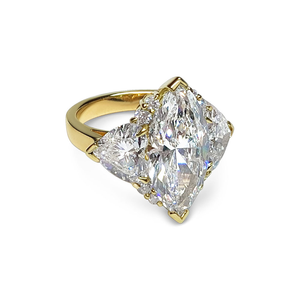 Bespoke marquise and heart-shaped diamond ring, mounted in 18ct yellow and rose gold