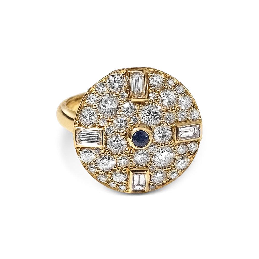 Bespoke sapphire, baguette-cut diamond and pavé-set diamond circular ring, mounted in 18ct yellow gold. top