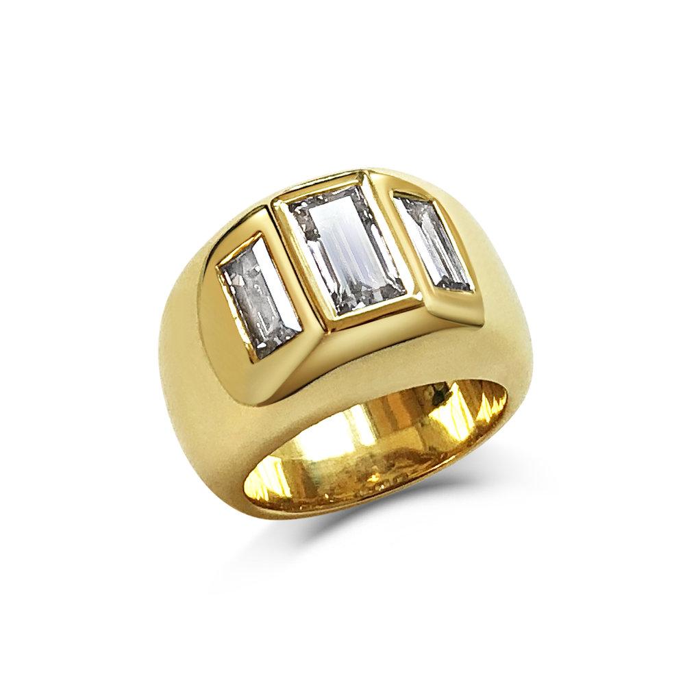 Baguette-cut diamond ring