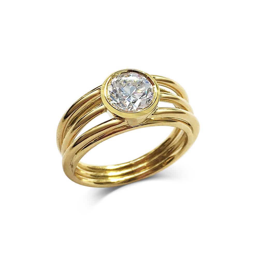 Diamond three row ring