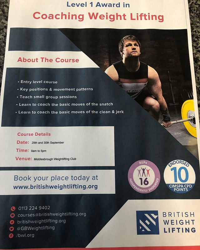 Weightlifting course in Teesside!  Know a pt, friend or sports coach looking to learn how to deliver weightlifting ?  We're hosting the BWL Level 1 at Middlesbrough Weightlifting club Saturday and Sunday 29th/30th September  Tag a friend and Follow the link  https://www.britishweightliftingshop.org/courses/level-1-award-in-coaching-weight-lifting