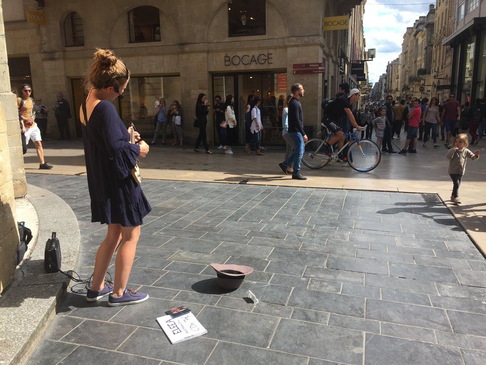 Busking on the streets of Bordeaux. Picture: Eleea
