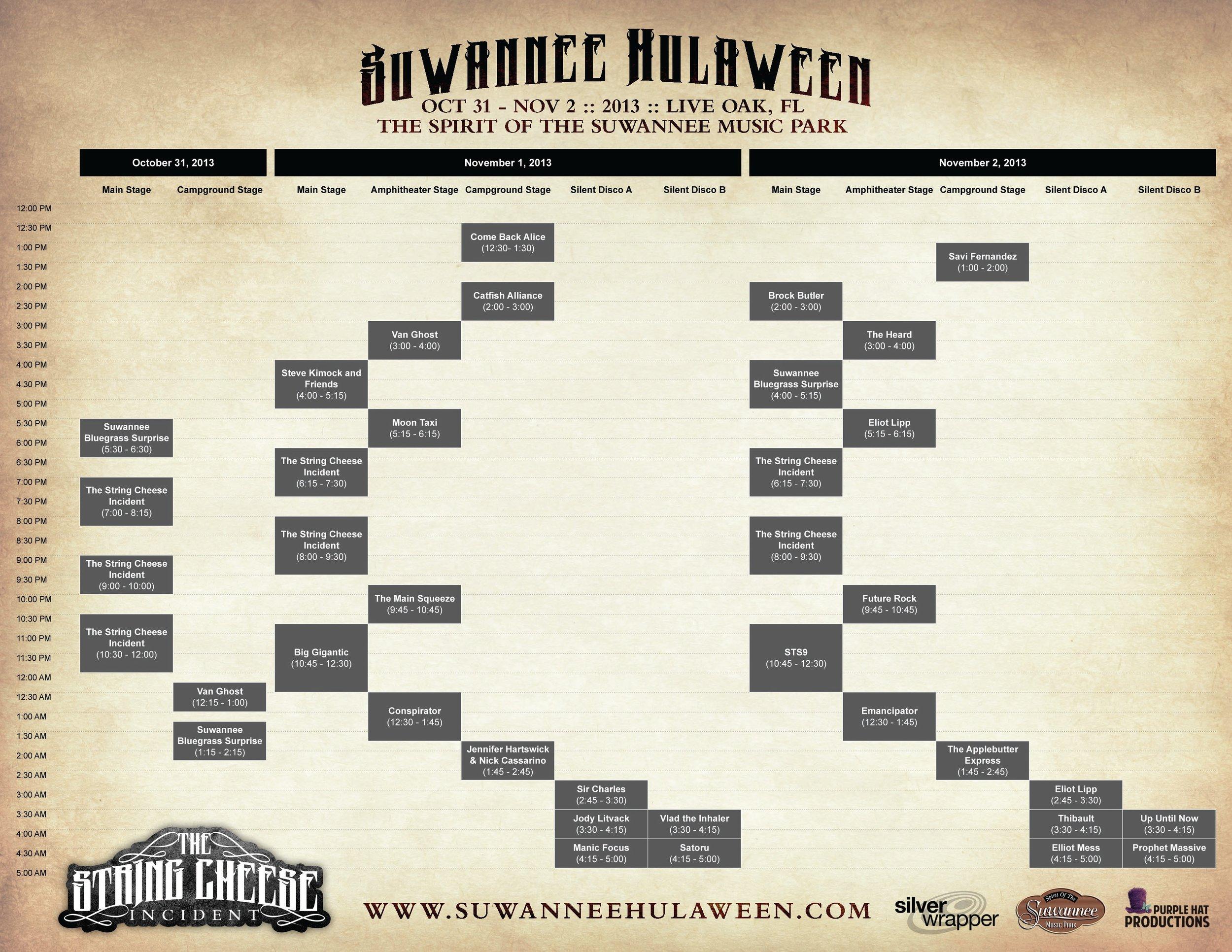 Suwannee Hulaween 2013 Schedule
