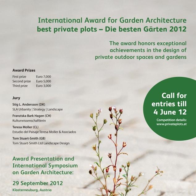 Best Private Plots 2012 -Het bureau werd genomineerd voor de internationale wedstrijd Best Private Plots - Die besten Gärden 2012.