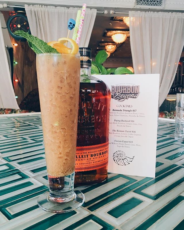 On #nationalbourbonday we do bourbon tiki! The Roman Twist with Bulliet Bourbon, lemon, coffee liqueur, orange juice & orgeat. @bourbonandbeyond . . . #bourbonday #bourbonbartender #motherofpearl #punchdrink #imbibe #imbibegram #bourbonandbeyond #romantwist #tiki #bullietbourbon #fromrhumtowhiskey #cocktails #DRAAAANKS #nytimesfood #buzzfeedtasty #feedfeed #f52grams