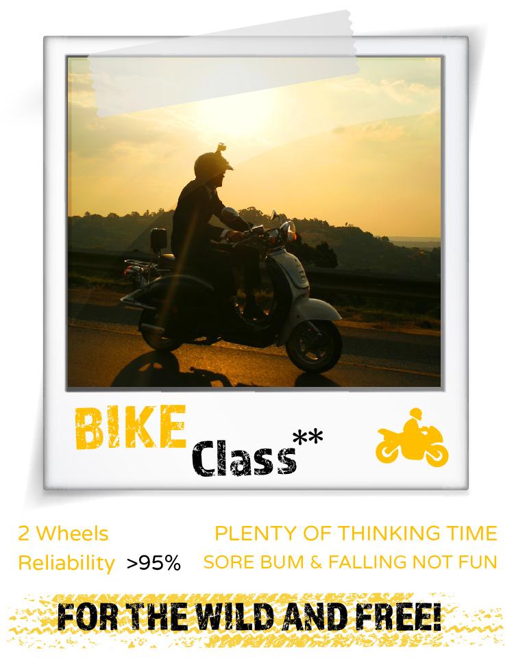 ** Motorbikes may not enter National Parks, same reason.