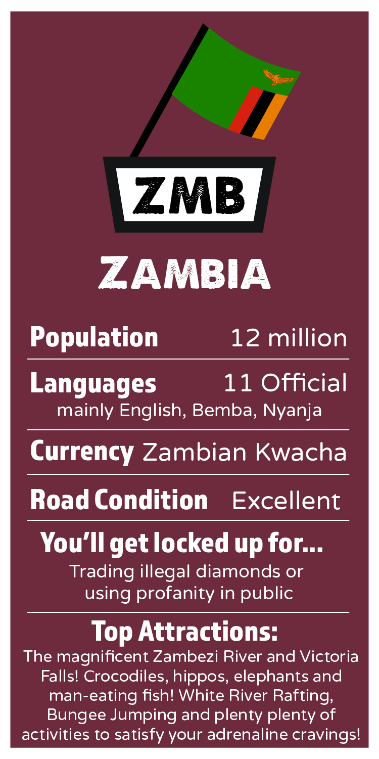 ZAMBIA    Population: 12 million  Languages: 11 Official, mainly English, Bemba, Nyanja  Currency: Zambian Kwacha   Road Condition: Excellent  I'll get locked up for:  Trading illegal diamonds or using profanity in public   Top Attractions: The magnificent Zambezi River and the incredible Victoria Falls! Crocodiles, hippos, elephants, man-eating fish! White River Rafting, Bungee Jumping and plenty plenty of activities to satisfy your adrenaline cravings!