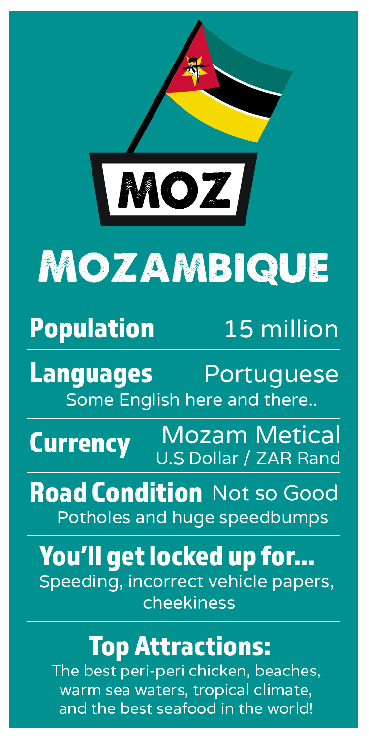 MOZAMBIQUE    Population: 15 million  Languages: 1  Official: Portguege, some English here and there..  Currency: Mozam Metical / U.S Dollar / SA Rand  Which side of the road: Left  Road Condition: Not so good! Potholes and huge speedbumps  I'll get locked up for: speeding, incorrect vehicle papers, cheekiness.   Top Attractions:  The best peri-peri chicken, beaches, warm sea waters, tropical climate, and the best seafood in the world!