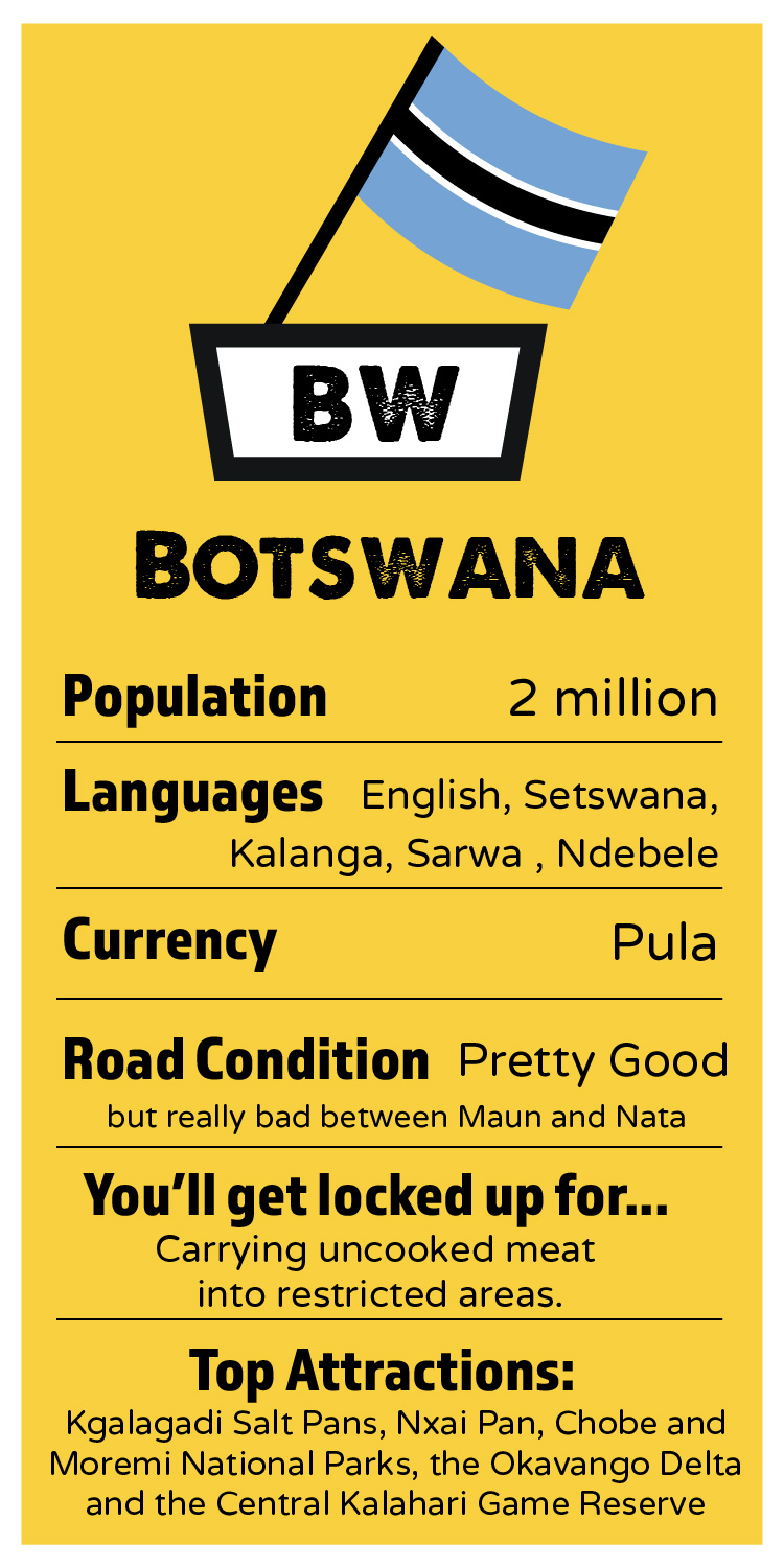 BOTSWANA    Population:  15 million  Languages:  1   Official: Portguege, some English here and there..  Currency:  Mozam Metical / U.S Dollar  Road Condition:  Not so good! Potholes and huge speedbumps  I'll get locked up for:  speeding, incorrect vehicle papers, cheekiness.   Top Attractions:  The best peri-peri chicken, beaches, warm sea waters, tropical climate, and the best seafood in the world!