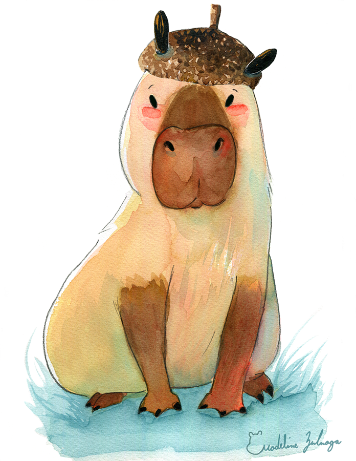 Four Illustrations watercolor series based around capybaras having fun.