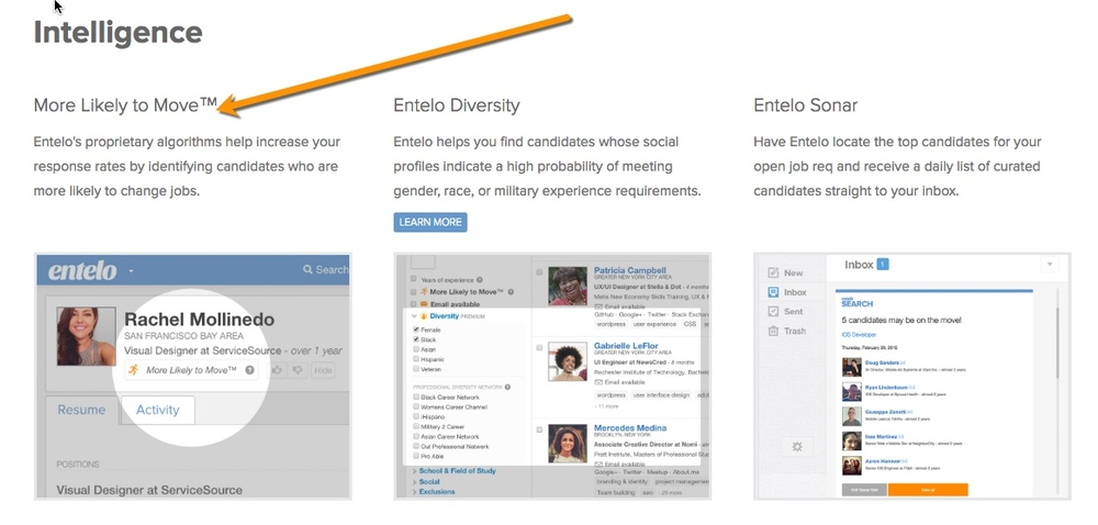 Part of Entelo's features is predictive intelligence