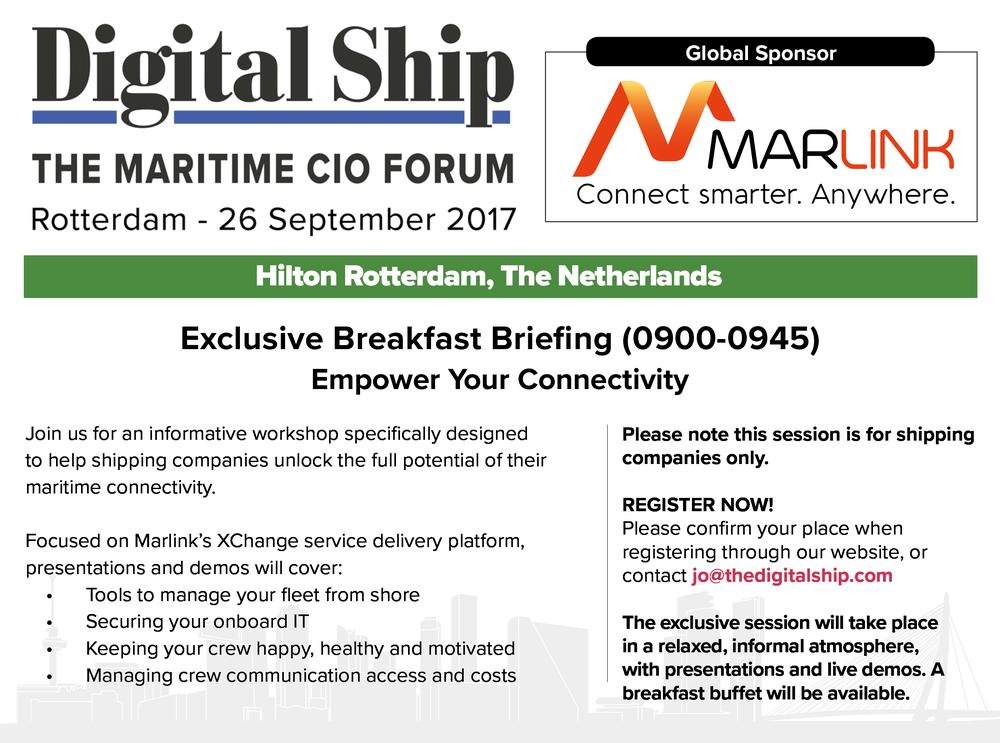 DS Rotterdam 2017 - Marlink Breakfast Briefing Invitation
