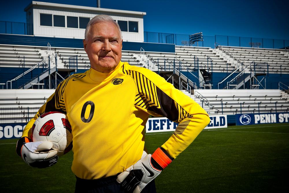 Photo of senior man soccer goalie at Penn State soccer stadium