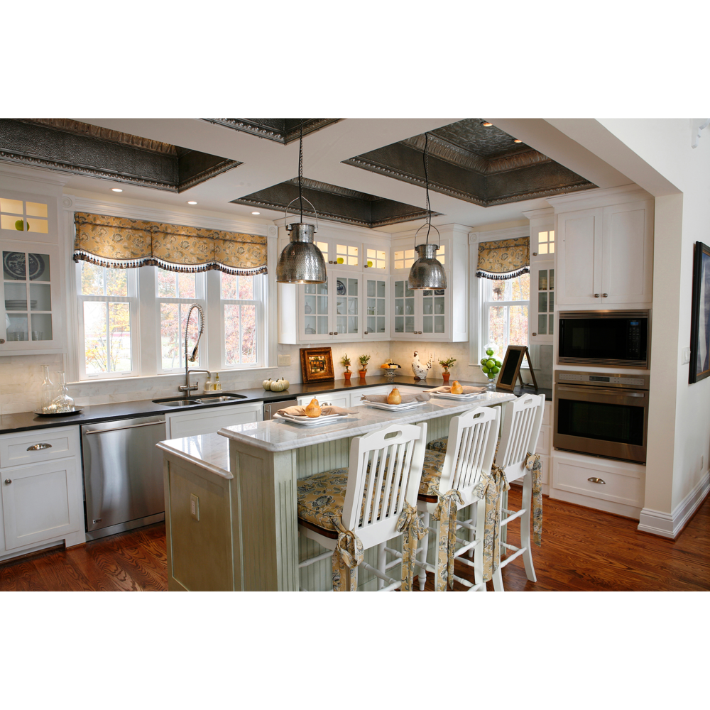White kitchen staged for showing to sell on website