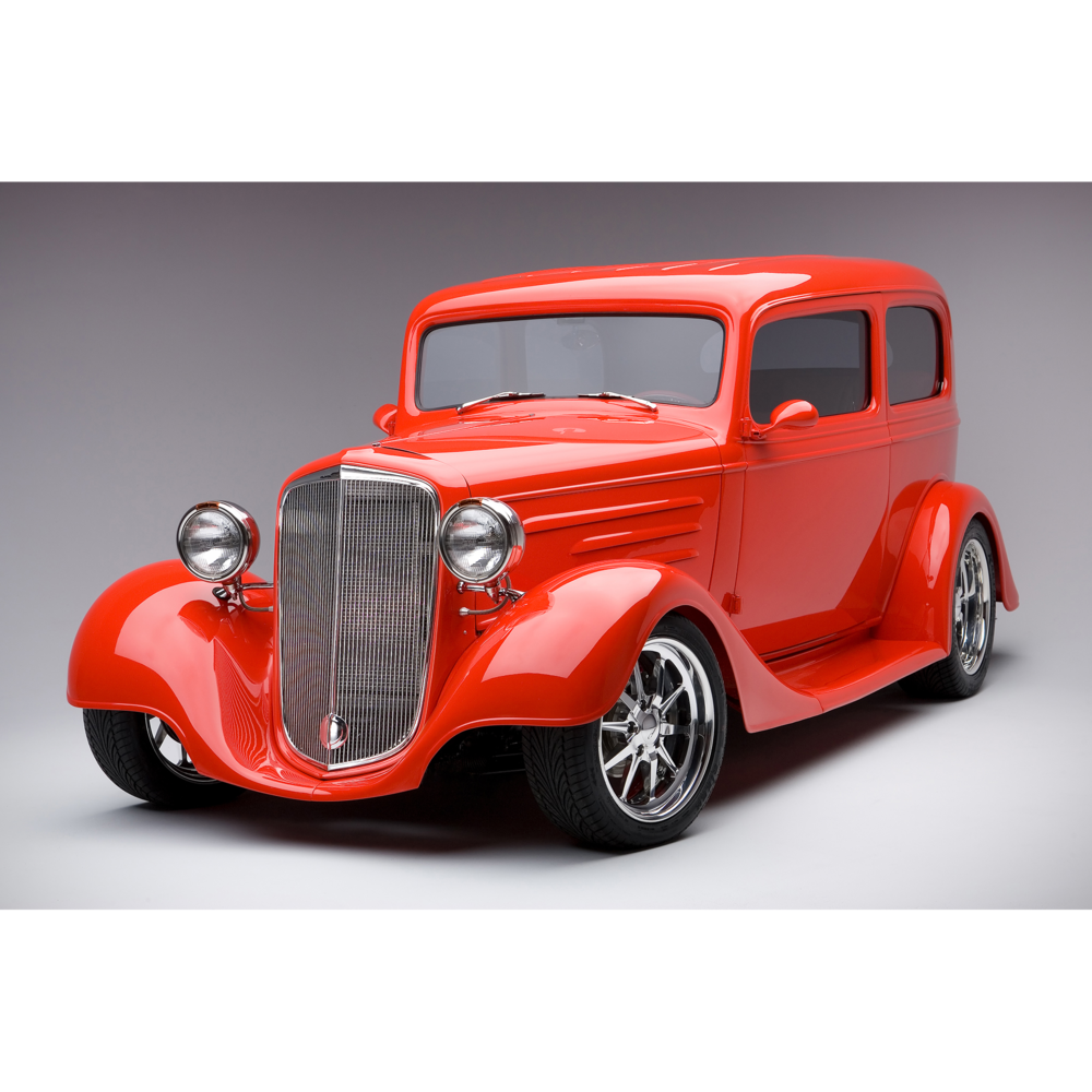 A Craig Anderson Photography studio shot of a custom red 35 Chevy hotrod