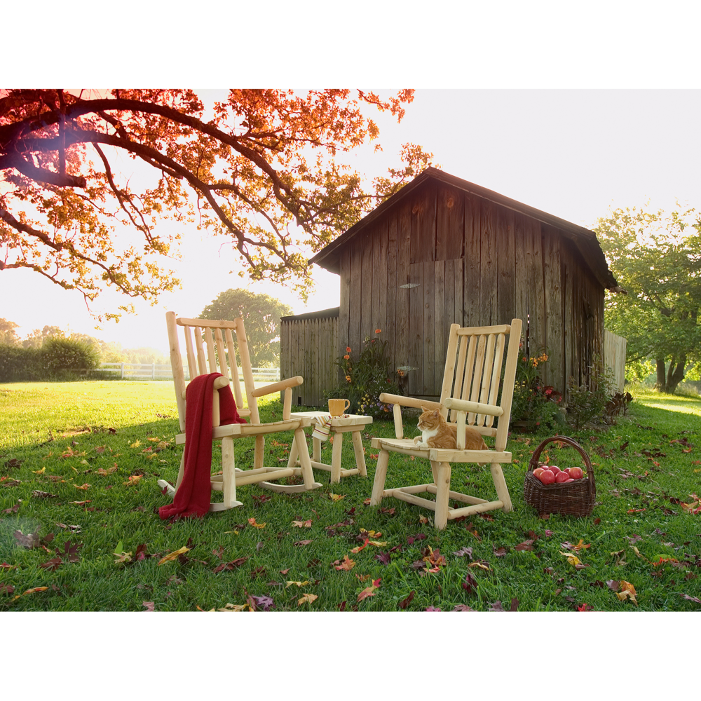 Wooden chairs and table with cat in front of barn photographed by Craig Anderson