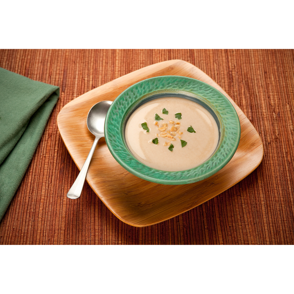 Product photograph of peanut soup for tourism advertising