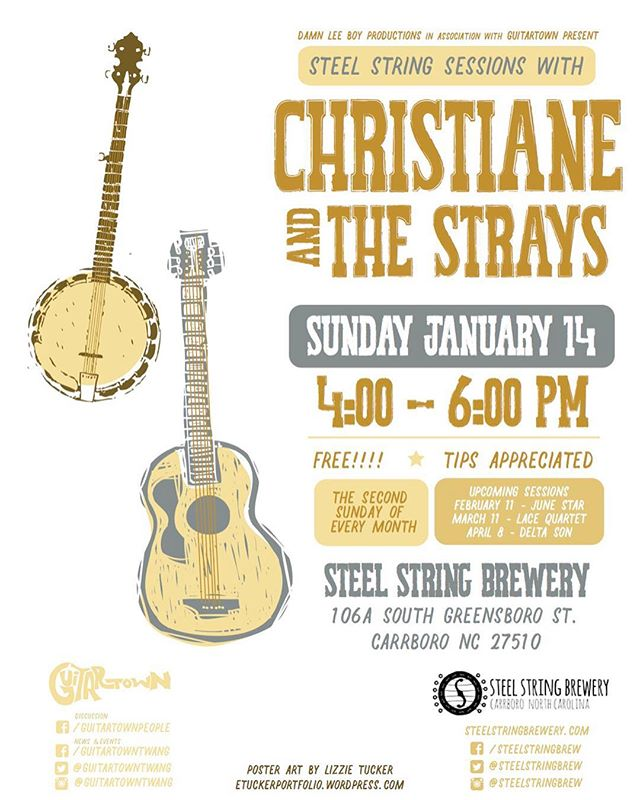 Playing TODAY at 4:00 in Carrborro at Steel String Brewery. Come and say hey! @guitartowntwang @steelstringbrew . . . . . #livemusic #ncmusic #northcarolina #localmusic #carrboro #chapelhill #unc #americana #countrymusic #acoustic #gibsonguitar #christiane #christianeandthestrays #waitingwiththelightson #songwriting #songwriter #originalmusic #brewery #ncbeer #localbeer #sundayfunday #womeninmusic #letthegirlsplay #originalmusic #singer