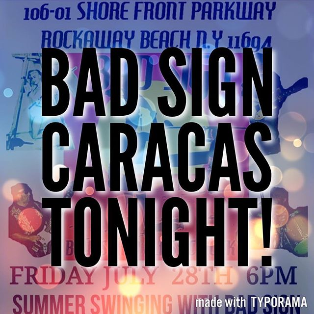 Bad Sign is playing at Caracas this evening!!!! Don't miss it 😎😎😎