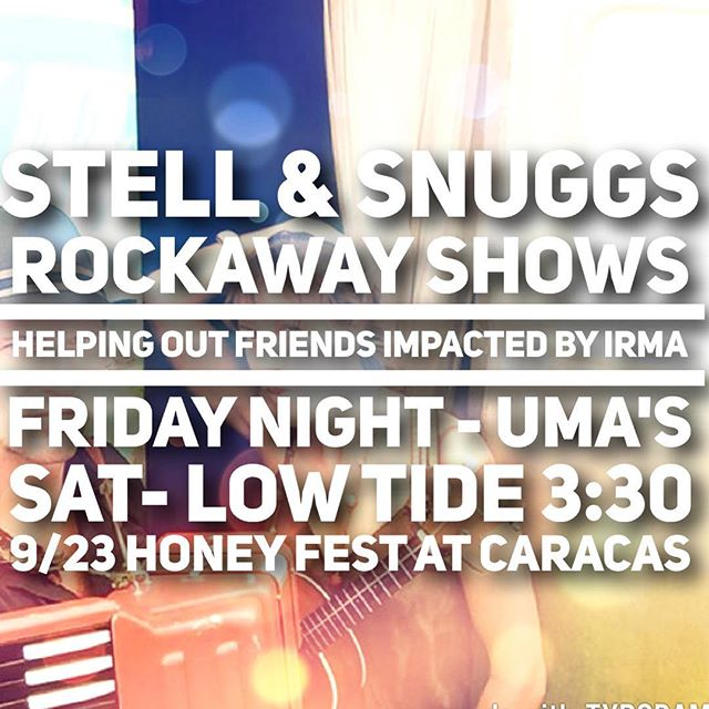 We invite you to join us in welcoming back Stell & Snuggs for a few very important shows on our peninsula. Many of you know this band for their amazing tunes and beautiful family that has always spread such an amazing message as residents of Rockaway and beautiful dreamers on the sea. Due to the recent hurricane devastation in the Caribbean, this family is on a mission to help their sailing community that has lost pretty much everything and have been forced into unbearable circumstances. We put together these few shows for our Rockaway community to come together and show our support for their mission. If you are looking for a way to directly contribute to families and friends that were here for us during Sandy, this is a great way to learn about their upcoming fundraising efforts and hear first-hand accounts of what is actually going on in the islands.  Friday evening 9/15- Uma's on RBBlvd 💚 Saturday (Poseidon's Parade) 9/16- Low Tide Bar @ 3:30 💚 Saturday (HoneyFest) 9/23- Caracas @ 4:30 💚  @stellandsnuggs @lowtidebar97 @caracasarepabar @umas_rockaway_playajobos @seashepherd  All shows are free! There are plenty of ways to help! 🙏