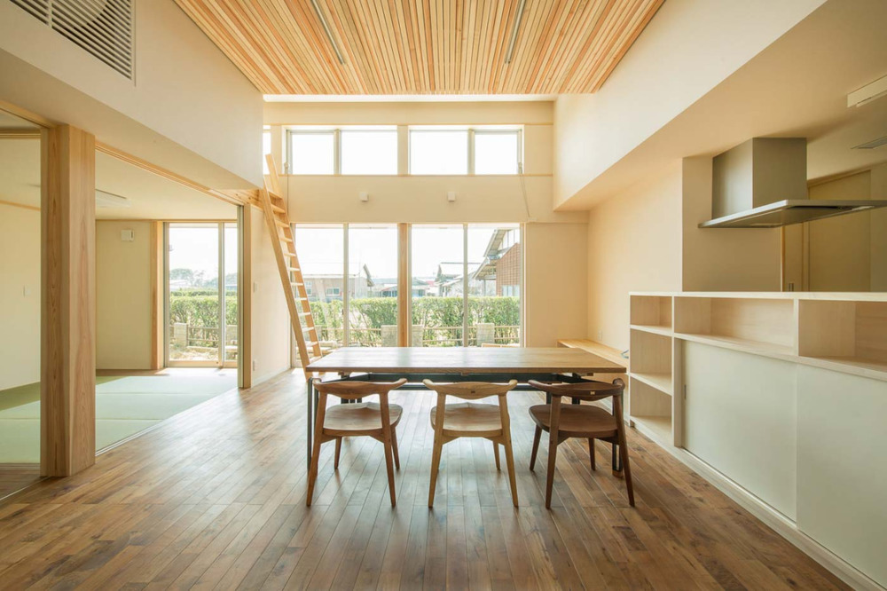 Parent and Child House is a minimalist residence designed by Japan-based architects Miyamato Architect Atelier.