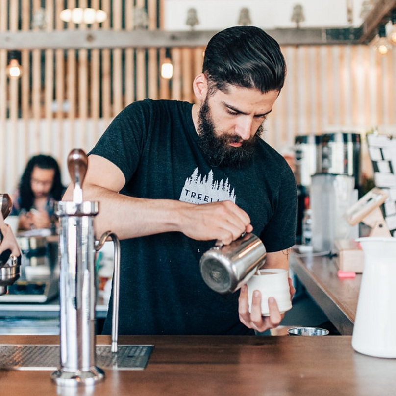DAN - Ugly Shirt Enthusiast. Bozeman transplant bringing is mad coffee skills of almost 8 years from the Bay Area. Don't let the beard fool you, he's not the most outdoorsy guy though he takes his beagle Max skateboarding every day.