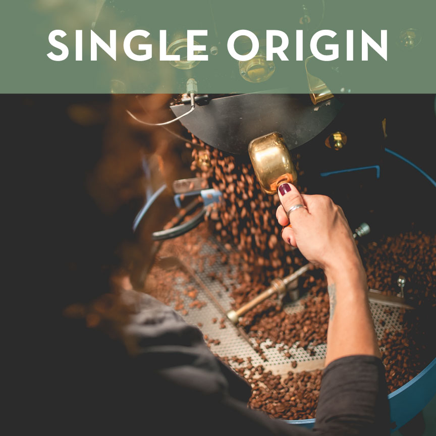 Single Origin Coffees are sourced seasonally from farms that emphasize quality production, ethical working conditions and sustainable practices.  We roast in small batches to highlight the unique and distinct characteristics of each coffee bean.  We appreciate coffee's complexities and adopt roast profiles that coax out the natural sweetness, richness and depth of each bean.