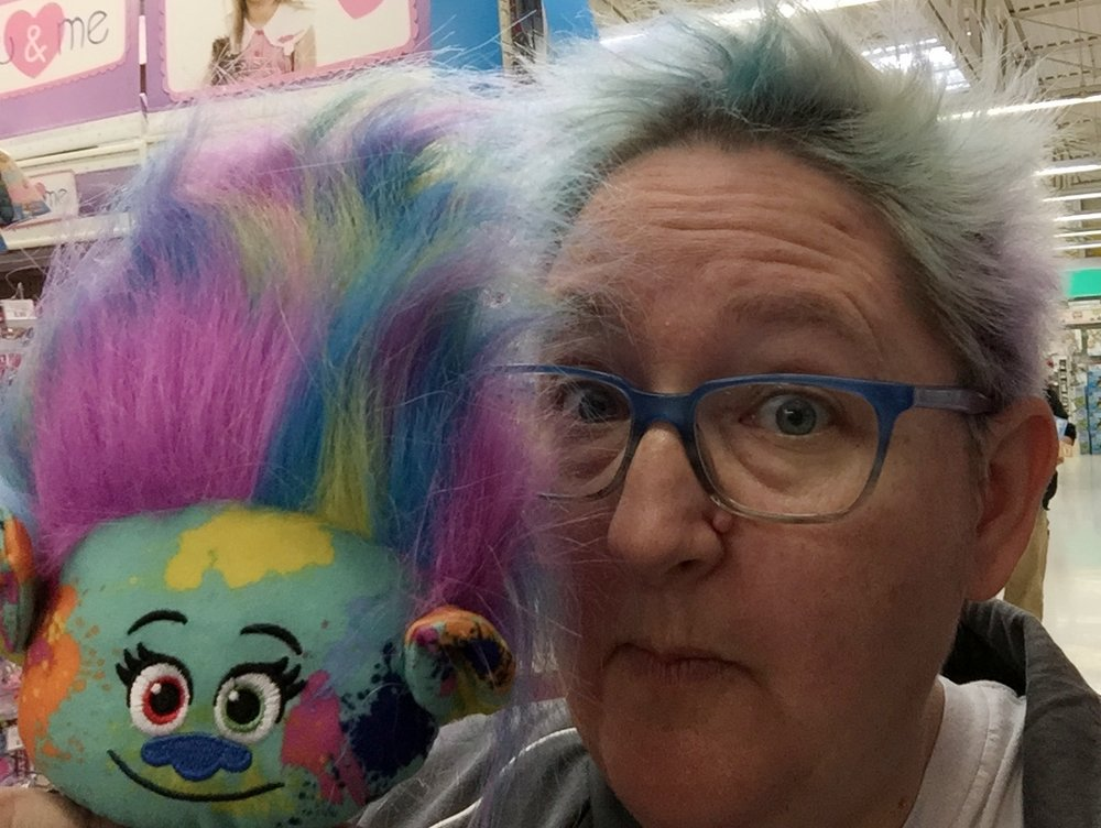 Currently, Stacie pretty much looks like this Troll doll.