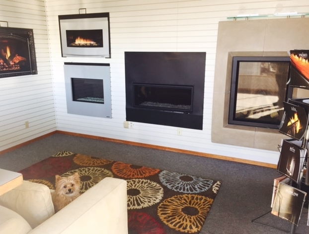 Humphrey the Office Dog enjoying the Tri County Fireplace Showroom