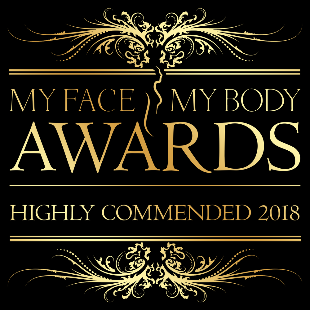 Congratulations to our own Cristina for being  Highly Commended  as UK Aesthetic Therapist of the Year 2018 in the  My Face My Body Awards 2018.