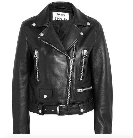 This is THE classic moto.  It first came across my desk years ago at the magazine and I wish I had bought it then.  Leather biker jacket, Acne Studios $1600  Net-A-Porter.com