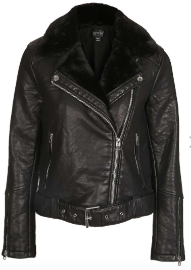 We've seen it in person and the faux leather can stand up to the real thing. Great price point to try the trend.  Faux leather moto jacket with faux fur collar, $130,  Topshop