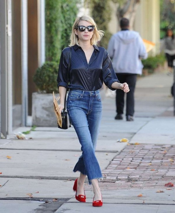 Emma Roberts in a crop flare.  Click to buy similar style from Rag and Bone