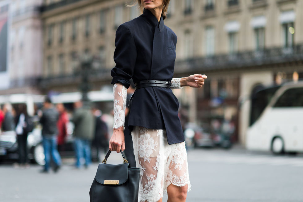 paris-fashion-week-street-style-elle-white-lace-dress-belted-blazer-evening-to-day-dressing-night-to-day-dressing-style-hack-black-and-white-navy-and-black.jpg
